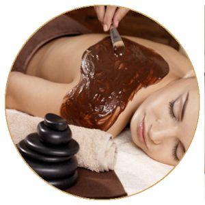 čokoládová masáž s peelingem